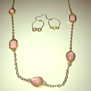 Ann Taylor Loft pink and gold necklace w/ earrings